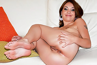 Bryce spreads her sexy legs for the camera and gets her tight bush drilled by throbbing piece of hard wood