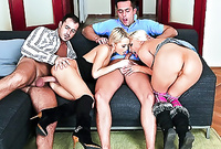 Angela and her alluring hot friend strip together on the sofa and have amazing passionate crazy sex