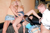 Samantha and two bitches strip together before the camera and have sex with one horny teen bloke