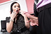 Ashli Orion takes her sexy black dress off and pleases her hung lover with an amazing deep blowjob