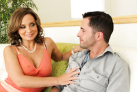 Rebecca Bardoux takes her sexy lingerie off and then fucks with a good looking handsome lover on the sofa