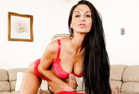 Ava Addams spreads her sexy legs and gets her tight muff hard and fast