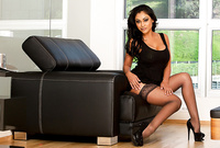 Priya Rai takes her classy black dress and gets roughly fucked in sexy black stockings