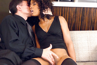 Misty Stone takes her sexy black dress and fucks with her hung lover in black stockings