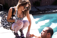 Courtney Cummz takes all of her clothes before the camera and gets her hungry muff nailed hard and fast by the pool