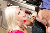 Puma Swede takes her classy lingerie off and treats her handsome lover with a killer, deep blowjob
