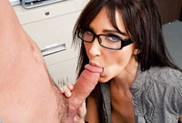 Diana Prince kneels before her good looking handsome lover and treats him with an amazing deep blowjob