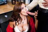 Francesca Le shows us her amazing big jugs and swallows a throbbing hard schlong for the camera
