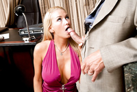 Blake Rose takes her slutty pink dress off in the office and gives an amazing deep blowjob