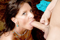 Sarah Bricks goes down on her knees and treats her lover with a great blowjob