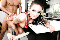Christy Mack takes her sexy black thongs off and gets her deep vagina nailed by throbbing piece of hard wood