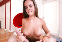 Rahyndee shows us her round big jugs and then strokes off two hard meat poles passionately