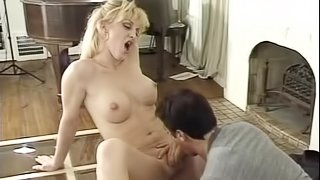 Lusty blond shemale jerks off while getting boffed