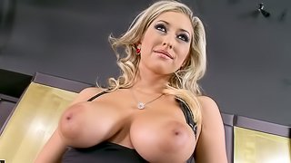 Spectacular Blonde MILF Karina Shay Masturbating with Cock-Shaped Dildo
