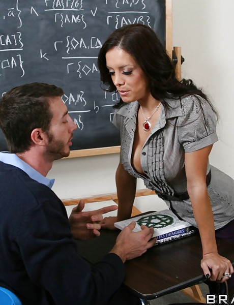 Classy brunette teacher strips in the classroom and fucks with her handsome student