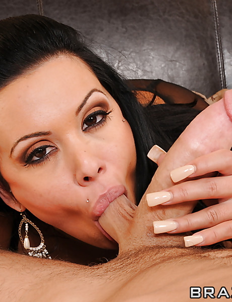 Classy brunette MILF lady takes her dress off and fucks in sexy black stockings