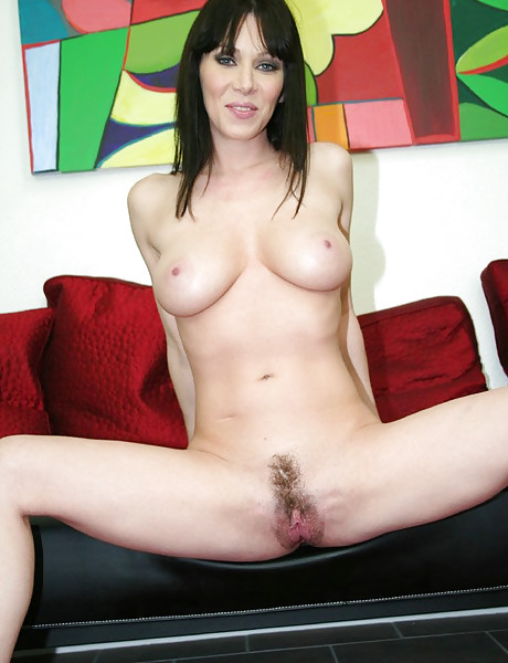 Alluring brunette babe spreads her sexy legs and gets nailed by hard meat pole