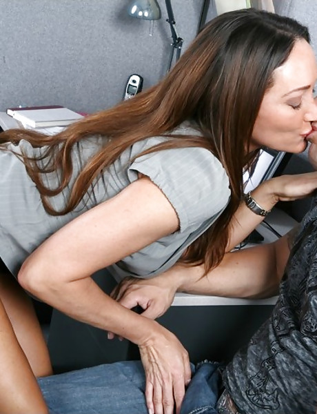 Classy office wench takes her clothes off and rides big hard cock in black lingerie.