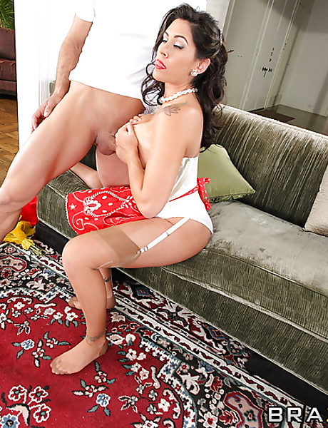 Big breasted brunette MILF takes her sexy dress off and slurps on large penis.