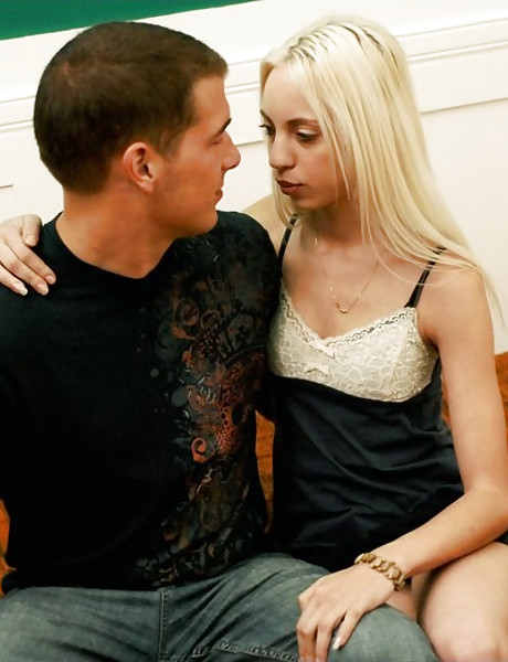 Lusty blonde chick strips her black dress for her lover and jumps on his big boner.