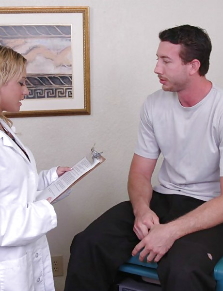 Big breasted blonde doctor takes her uniform in her office and gets roughly fucked.