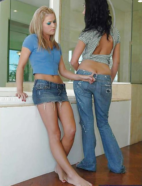 Beautiful teen chicks take their slutty outfits off and share a hard cock together.