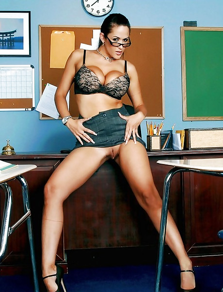Classy MILF teacher strips her black lingerie for her student and rides his cock.