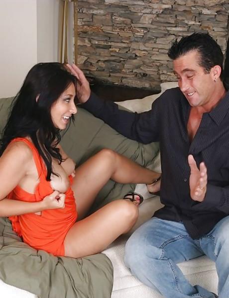 Attractive Asian bitch takes her red dress off and rides a massive hard boner.