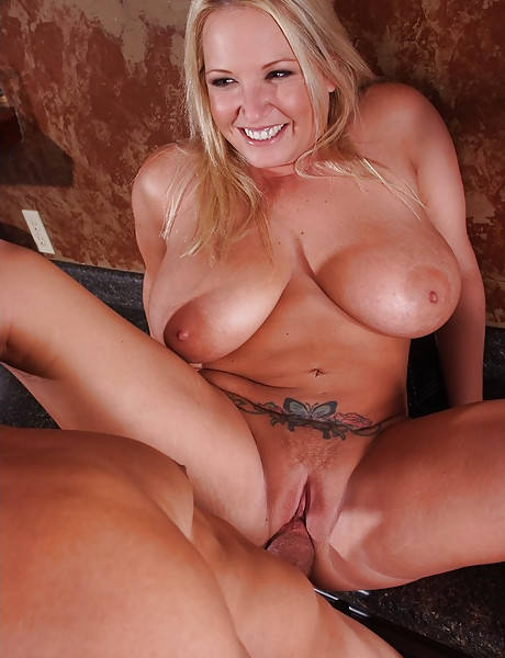 Big breasted blonde MILF strips her lingerie and gets her fanny rammed hard.