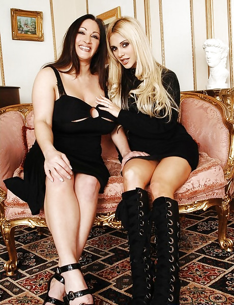 Classy mature ladies take their cocktail dresses off and fuck with two studs.