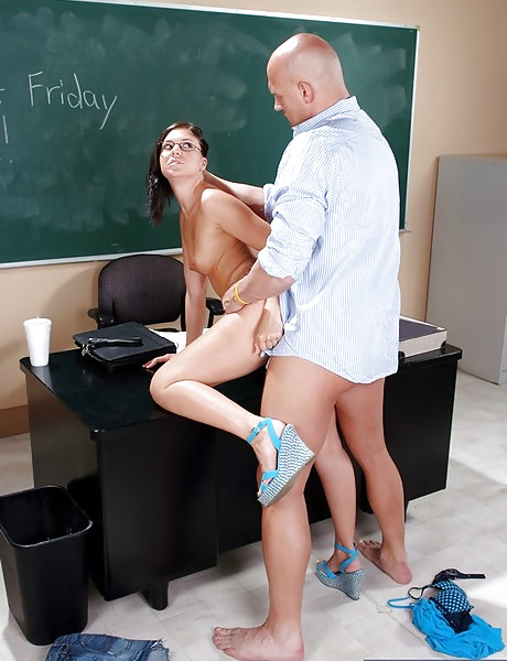 Horny brunette schoolgirl strips for her teacher and gets ravaged by his hard cock.