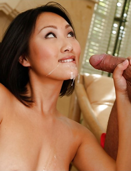 Slutty Asian babe takes her uniform off and fucks with handsome well hung stud.