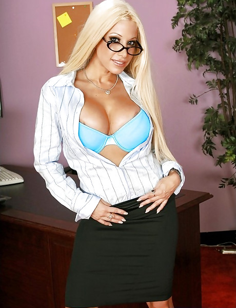 Smoking hot busty blonde strips in the office and gets pumped by big hard schlong.