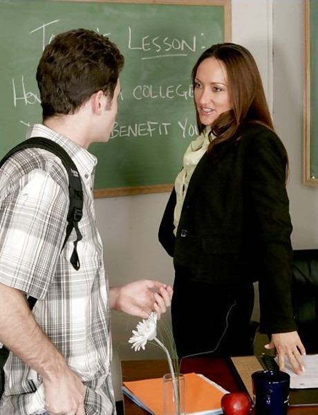 Busty brunette MILF teacher strips her black lingerie and fucks with a student.