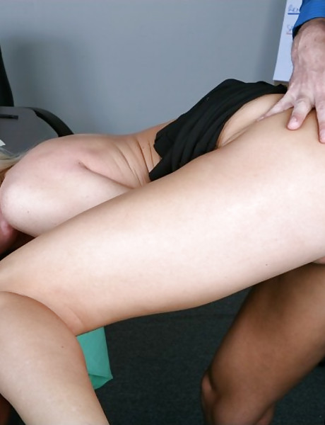Smoking hot blonde chick takes her black panties off and rides a hard fat meat pole.
