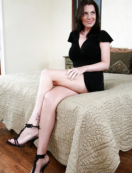 Hot brunette lady takes her black dress off and gets pumped by hard fat shaft.
