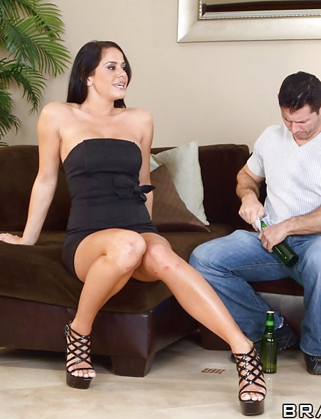 Good looking brunette bitch takes her black dress off and fucks with a hung stud.