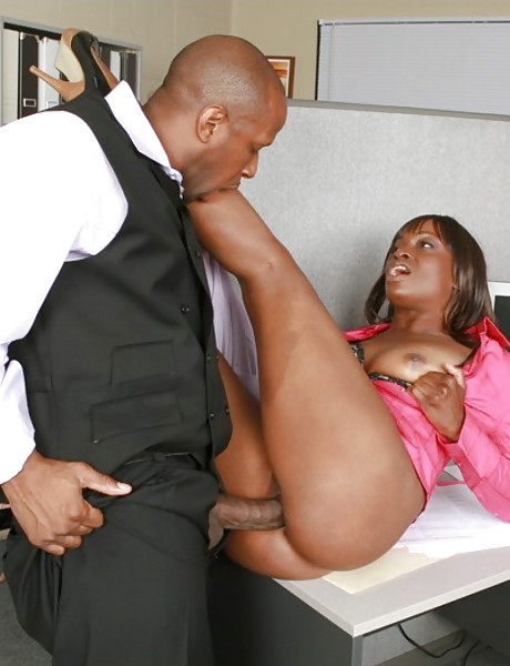 Horny and lusty black bitch spreads her legs and gets banged by big black cock.