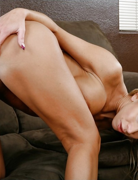 Alluring busty blonde wife takes her clothes off and gets fucked by bald stud.