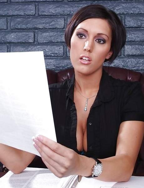 Big breasted classy MILF takes her clothes off in the office and fucks in lingerie.