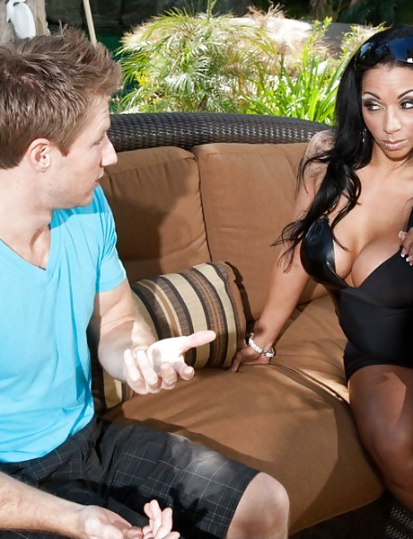 Classy busty MILF hoe takes her cocktail dress off and rides a big meat pole.