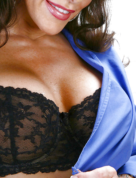 Seductive brunette momma with big breast wearing lace lingerie taking cock up twat