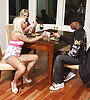 Busty blonde hottie kneels before her hung lover and sucks big hard black dong
