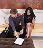 Classy brunette Asian lady takes her black dress off and fucks with younger stud.