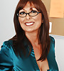 Classy mature office lady takes her satin clothes off and fucks in black lingerie.