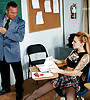 Busty tattooed schoolgirl strips for her teacher and blows hard throbbing cock.