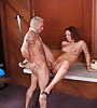 Foxy brunette chick takes her clothes off and gets her muff banged hard and fast.