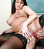 Classy brunette MILF babe takes her black stockings off and fucks hard and fast.