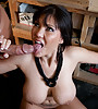 Busty brunette chick takes her lingerie off and gets banged roughly from behind.