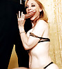 Busty classy MILF babe takes her black lingerie off and sucks hard big shaft.